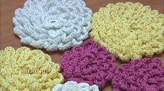 Вязание цветка на плоской основе с навязкой Вязание Крючком  Урок 9
