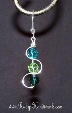 Swarovski Crystal Earrings, Handmade Earrings, Handcrafted Note Card,  RubysHandiwork.com on Etsy, $45.00