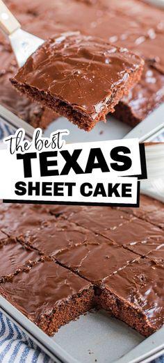 Texas Sheet Cakes, Easy Texas Sheet Cake Recipe, Texas Cake, Sheet Cake Recipes, Easy Cake Recipes, Baking Recipes, Chocolate Sheet Cakes, Super Moist Chocolate Cake, Easy Chocolate Desserts