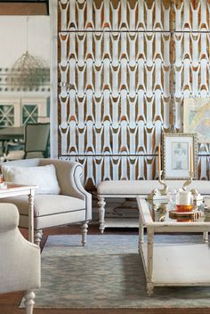 Bernhardt   Pearl Chairs in white woven   Auberge Cocktail Table in vintage white and antiqued mirror, Auberge Bench