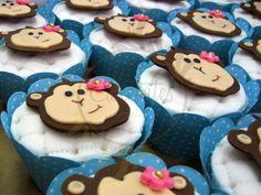 Cupcakes Macaquinhas - Caketutes Cake Designer - Little Monkey Girl Cupcake