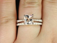 Taylor Medio Size 14kt Rose Gold Cushion Morganite and Diamond Cathedral Wedding Set ( Other Metal and Stone Options Available)
