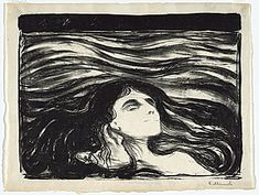 "Edward Munch  ""Lovers in the waves"" 1896 lithography"