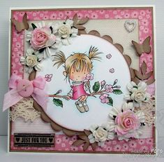 Lili card-- another pink card with Blossum! Scrapbooking, Scrapbook Cards, Card Tags, I Card, Copic Drawings, Pink Cards, Baby Cards, Shabby Chic Cards, Whimsy Stamps