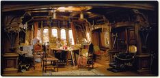 A bit ornate for James Hook's cabin aboard the Jolie Rouge—but typical of the way he surrounds himself with his finest plunder during his lengthy sojourn in the Neverland.