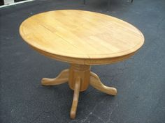 Round Solid Oak Drop Leaf Table with Pedestal Base
