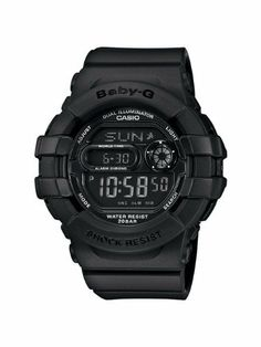 Casio Women's BGD140-1ACR Baby-G Shock Resistant Multi-Function Digital Watch Casio. $90.00. 12/24 hr formats; mute funtion. Water-resistant to 100 m (330 feet). Shock resistant; dual illuminator el backlight with afterglow. World time (29 time zones/48 cities). 1/100 sec stopwatch; countdown timer