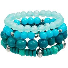 Teal Beaded Stretch Bracelet Set ($14) ❤ liked on Polyvore featuring jewelry, bracelets, green oth, green gold jewelry, teal jewelry, bead jewellery, gold jewellery and gold jewelry