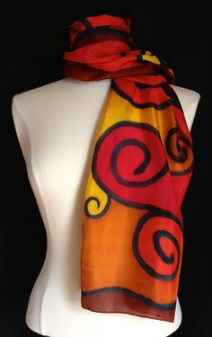 Hand painted brilliant silk scarf 14x72 by FantasticPheasant, $40.00