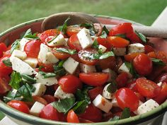 Caprese Salad with Grape Tomatoes, Mozzarella, Basil and Sea Salt. Such an easy and refreshing salad.