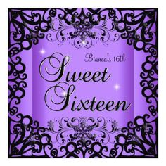 1000 Images About Purple 16th Birthday Party Invitations