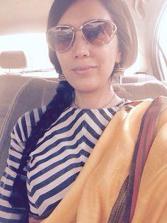 Striped blouse rocks the @rawmango sari