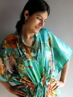 Aqua Green Floral Short 70s Inspired Hostess Gown by silkandmore