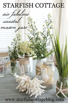 Cozy Connecticut Holiday Home Mercury glass vessels filled with white roses and greenery artfully top the marble vanity in the master bath. Coastal Style, Coastal Decor, Coastal Living, Mercury Glass Decor, Deco Marine, Coastal Christmas, Elegant Christmas, Christmas Holidays, Painted Mason Jars