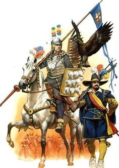 1. Polish hussar in parade costume (squadron Gostomski, Kraków 1605.). 2. Militia musketeer in a foreign uniform Fig. A. McBride.