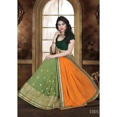 Designer Womaniya Orange & Parrot Green Embroidery Georgette Saree with Blouse at just Rs.1575/- on www.vendorvilla.com. Cash on Delivery, Easy Returns, Lowest Price.