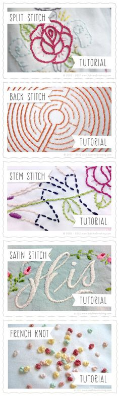 Embroidery Stitches Tutorials Sublime Stitching Split Stitch, Back Stitch, Stem Stitch, Satin Stitch, French Knot  #threadsnscissors #embroidery #tutorials