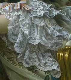 Portrait de Jeanne Antoinette Poisson, marquise de Pompadour, à son métier de couture, 1763 François-Hubert Drouais Détail