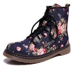 Lacing Boots Martin Boots British Vintage Big Flower Motorcycle Boots