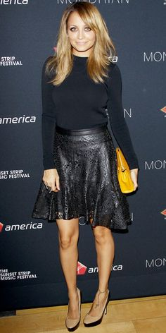 Nicole Richie wearing a laser-cut Winter Kate leather skirt
