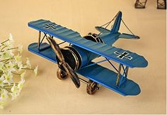 My Box Vintage / Retro Handicraft- Metal Plane Models - A Biplane (S) , the Best Choice for Christmas Gift/home Decor/ornament/ Desktop Decoration (blue)