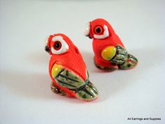2 Ceramic Parrot Beads Hand Painted Glazed by allearringsandsuppli, $3.95