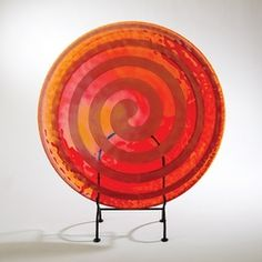 Red And Orange Spiral Flat Plate