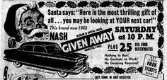 1952 Nash Car Giveaway retro advertisement from the Anderson Herald December 5th, 1952