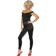 Zwarte Sandy jumpsuit. Dit zwarte stoere Sandy kostuum uit de laatste Grease scene bestaat uit een strakke glimmende broek, een zwart topje en een riem. bekijk ook deze site voor Sandy accessoires om uw outfit compleet te maken.
