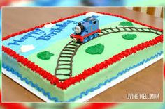 Thomas the Tank Engine Birthday Cake Cake Decorating – Thomas the Tank Engine Birthday Cake – Musings From a Stay At Home Mom Thomas Birthday Cakes, Thomas Birthday Parties, Thomas Cakes, Thomas The Train Birthday Party, 2 Birthday Cake, Trains Birthday Party, Birthday Cake Decorating, Boy Birthday, Train Party