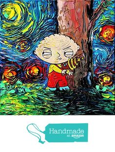 Family Guy Inspired Art - Stewie - Starry Night - Poster - Print - van Gogh Never Saw Quahog - Art by Aja 8x8, 10x10, 12x12, 20x20, 24x24 inches from Sagittarius Gallery https://www.amazon.com/dp/B01LXM27WW/ref=hnd_sw_r_pi_dp_8m3LybWMFH5P4 #handmadeatamazon