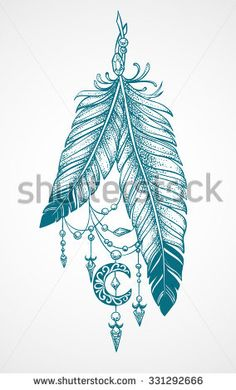 Two feathers tattoo with pendants in the form of crystals and crescent style…