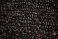 Ultra-Orthodox Jewish men attend the wedding of Belze Rebbe's grandson, Shalom Rokeach in Jerusalem