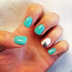 Turquoise gel nails with white and black feather accent. Love these nails