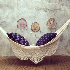 Bohemian..... beautiful hammock with big plump pillows.
