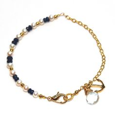 Sapphire Bracelet Freshwater Pearl Anchor Nautical by FizzCandy