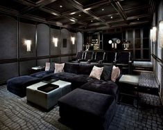 Find more ideas: Basement Home Theater Lighting Ideas Small Home Theater Rooms Ceiling Decorations Home Theater Speakers System & Projector Home Theater Furniture On A Budget DIY Home Theater Seating Design Home Theater Lighting, Home Theater Room Design, Home Cinema Room, Home Theater Furniture, Home Theater Decor, At Home Movie Theater, Home Theater Rooms, Home Theater Seating, Home Decor