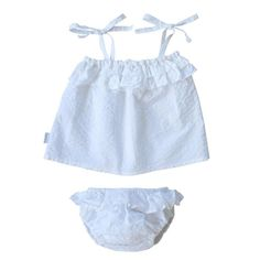1ae384743e0 swell & solis white periscope two piece seersucker cotton cami and bloomers  for baby 프 릴