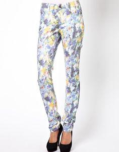 Pieces Blurred Floral Print Skinny Jean