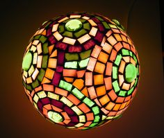 Green in circles, mosaic table lamp, ooak home decor in green and purple