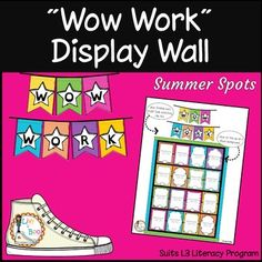 """In this resource you will find 12 display boards for showcasing your students work samples. Print and laminate the display boards and """"Wow Work"""" bunting. You can attach work samples to the boards with clothespins, paperclips or by stapling. These display boards can easily be increased in size (if your"""