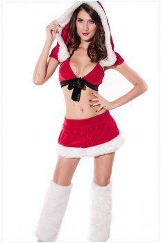 Kerst kostuum ( sexy bikini pak met een kap )