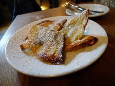 #Nutella Crepes ($10) come three to an order at Buvette. The tiny rounds are folded in proper thirds, well-browned in plenty of butter and crisp at the edge. There's a healthy smear of Nutella, melted and oozy in the pocket of each crepe, and a dusting of powdered sugar for good measure.