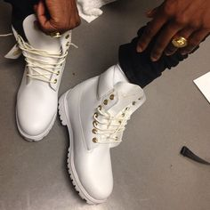 White Timberland Boots For Him. his getting these for Christmas White Timberland Boots, White Timberlands, Timberland Outfits, Timberland 6, Timberland Fashion, High Heel Pumps, Pumps Heels, Buy Shoes, Me Too Shoes