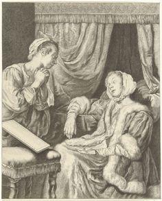 Christiaan Josi   Interieur met twee vrouwen, Christiaan Josi, 1821   Interieur met een slapende vrouw bij een ledikant. Op haar schoot ligt een brief. Haar dienstmeisje kijkt toe.