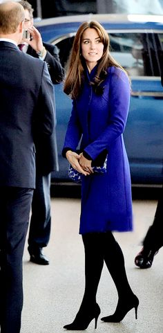 royalcatherine:  2015 Rugby World Cup Pool, Twickenham Stadium, London, September 18, 2015-Duchess of Cambridge wore a Reiss Emile Sharply Tailor coat, black dress and tights, Stuart Weitzman Power Pumps, Mulberry Baywater clutch, and carried a Beulah London Shibani scarf
