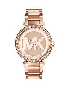 ffda959fb598 Michael Kors Mid-Size Rose Gold-Tone Stainless Steel Parker Three-Hand  Glitz Watch