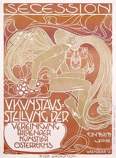 Kolomon Moser poster. This is an interesting simple version of the art nouveau poster. Kind of reminds me of 1960s band posters.