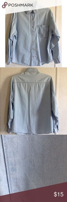 I Love H81 Chambray Button Up Blouse Great condition. Small run on the side of the pocket. Some lightening of the fabric on the front collar and on the back. Super cute I Love H81 (Forever 21) chambray shirt. Light blue color. Button up front with logo buttons. One pocket on the front. Long sleeves with single button cuffs. Size small. I Love H81 Tops Blouses