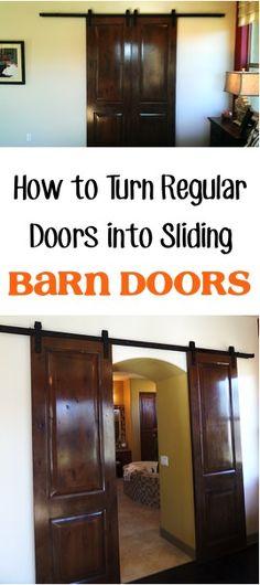 How to Turn Regular Interior Doors into Sliding Barn Doors! | TheFrugalGirls.com